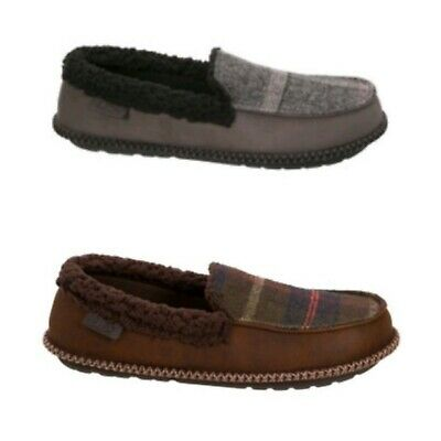 DF by Dearfoams Men's Memory Foam Gray or Brown Moccasin Slippers Shoes: S-XL