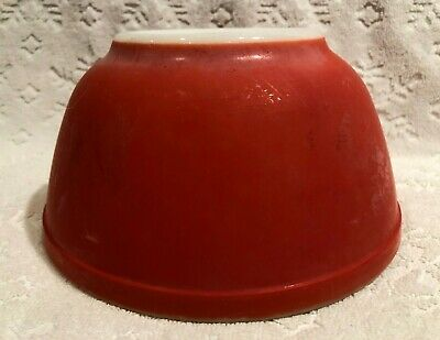 Vintage PYREX no #s 1940s; Solid-PRIMARY-Colour RED Medium Nesting Mixing-Bowl