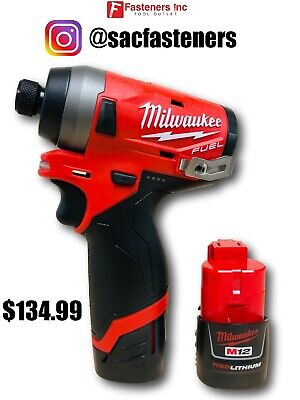 Milwaukee 2553-20 M12 FUEL 12V Brushless 1/4 Hex Impact Driver (2) 1.5AH Batts