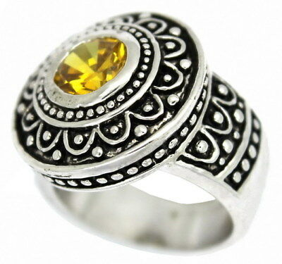 BOLD ANTIQUE Style Oxidized Ring with Simulated Light Topaz Round Center Stone