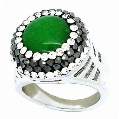 Fine Silver Plated & Rhodium Ring w/ Emerald Colored Stone & Crystals