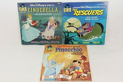 Vintage Childrens Walt Disney Record Book Cinderella