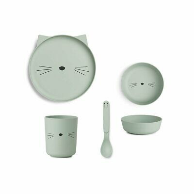 Liewood - Bamboo Plate Set - Dusty Mint Cat