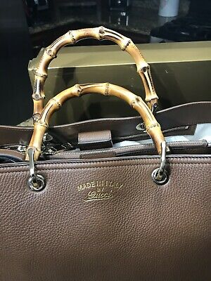 0369cd487eae Gucci Brown Pebbled Leather Tote With Bamboo Handles With Detachable Strap