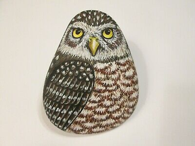 Burrowing Owl hand painted on a stone - pet rock - by Ann Kelly