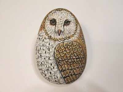 Barn Owl hand painted on a stone - pet rock - by Ann Kelly