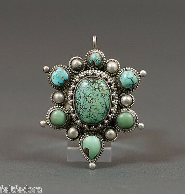 Vintage Ethnic Native Silver Neck Pendant Gaspeite Turquoise Gemstones Nuggets