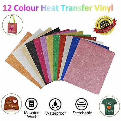 Vinyl PU Heat Transfer Film Vinyl Iron-on Shirt Garment Fabrics Film A4 12 Color