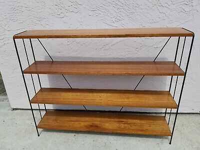 Vintage Mid Century Iron And Mahogany Storage Shelf By Luther Conover Eames Era