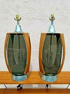 Vintage Pair Mid Century Wood And Smoke Lucite Table Lamps Chrome Trim