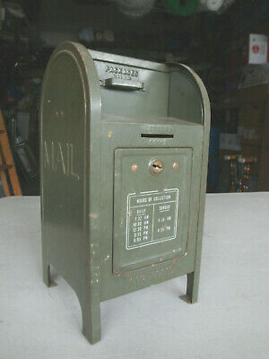 Vintage 1960's Brumberger 9 inch Metal USPS Mail Box Coin Bank No Key