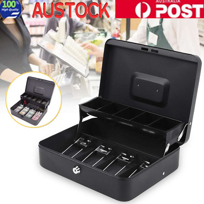 Lockable Cash Box Tiered Tray Money Drawer Portable Safe Storage For Security OZ