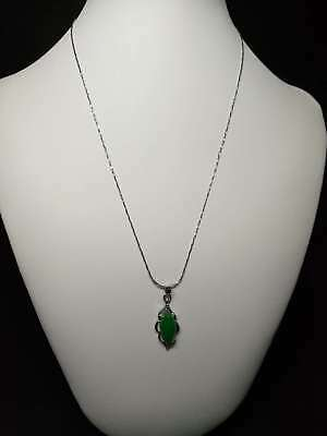 Exquisite Silver Inlaid Natural Jade Necklace & Pendant    Q698