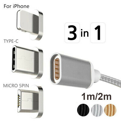 Magnetic Micro USB/Type C/IOS Fast Charging Charger Data Sync Cable For iPhones