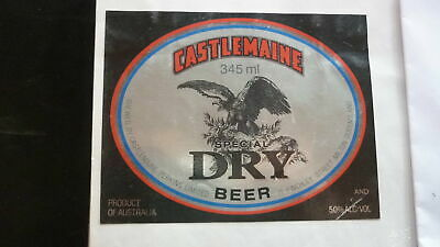 OLD AUSTRALIAN BEER LABEL, CASTLEMAINE SPECIAL DRY 345ml 1990s