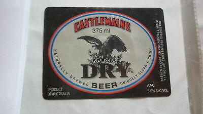 OLD AUSTRALIAN BEER LABEL, CASTLEMAINE SPECIAL DRY 375ml 1990s