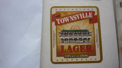 OLD AUSTRALIAN BEER LABEL, EUMUNDI BREWERY QLD, 1990s TOWNSVILLE LAGER