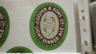 OLD AUSTRALIAN BEER LABEL, COOPERS BREWERY SA LIGHT DINNER ALE 1970s 26 oz