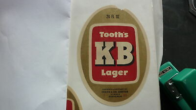OLD AUSTRALIAN BEER LABEL, TOOTH BREWERY KB LAGER 26Oz 1970s