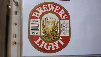 OLD AUSTRALIAN BEER LABEL, NORWOOD SA BREWERS LIGHT 1980s 750ml