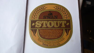 OLD AUSTRALIAN BEER LABEL, SWAN BREWERY PERTH SA, SWAN STOUT 750ml 1980s