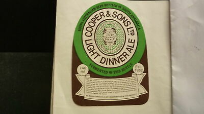 OLD AUSTRALIAN BEER LABEL, COOPERS BREWERY SA LIGHT DINNER ALE 740ml 1970s