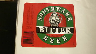 OLD AUSTRALIAN BEER LABEL, SA BREWING Co SOUTHWARK BITTER 1990s 750ml 1