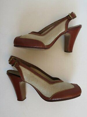 Vintage Shoes -1940s Straw Mesh & Leather Peep Toe Heels by Life Stride - Size 4