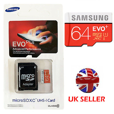Samsung 64GB Micro SD SDXC TF Memory Card 80MBs UHSI Class 10 With SD ADAPTER GD