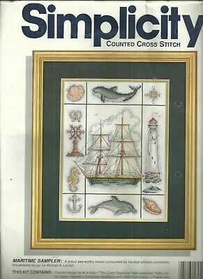 Maritime Sampler Counted Cross Stitch NEW by Simplicity