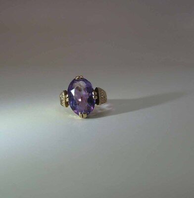 Pretty Antique Victorian 10K Rose Gold Natural Amethyst Navette Ring