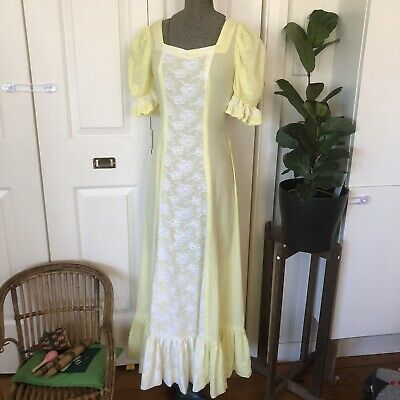 Vintage Retro 70s Yellow Seersucker Maxi Dress With Lace Panel