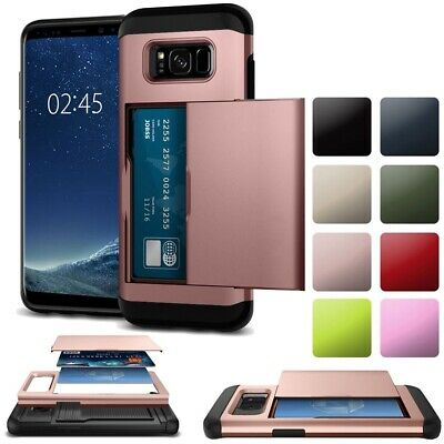 For Samsung Galaxy Note 9 8 5 4 S9 S8 S7 S6 Edge Plus Case Card Slot Armor Cover