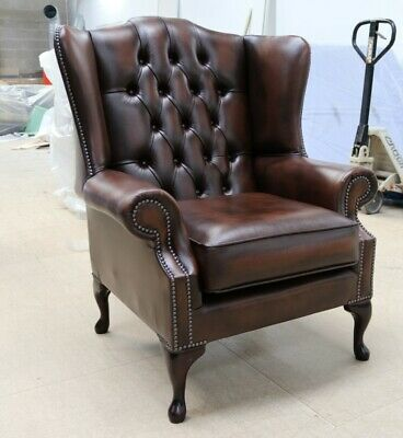Chesterfield Bloomsbury Queen Anne High Back Wing Chair Vintage Brown Leather