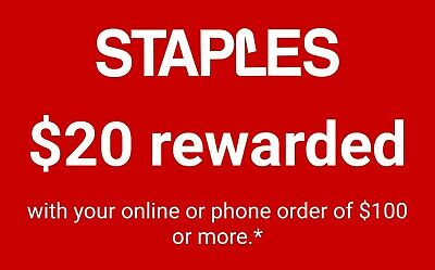 Staples $20 off $100 online/phone coupon - Exp 5/25/19
