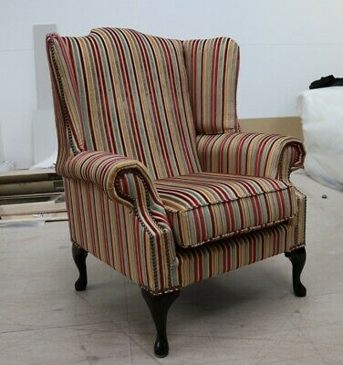 Chesterfield Bloomsbury Queen Anne High Back Wing Chair Jacquard Multi Stripe