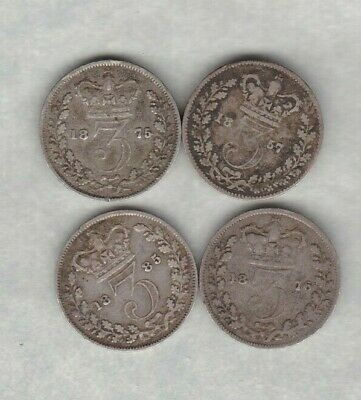 Four Victoria Silver Three Pence Coins 1857 To 1885 In A Used Condition