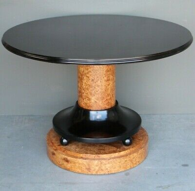 superb quality Art Deco dining table ebony blond hand polished antique finish