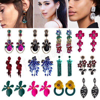 Women Fashion Bohemian Crystal Flower Long Tassels Earrings Dangle Drop Jewelry