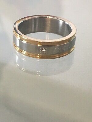 Str12 Diamond Wedding Band Ring I Really Love You Stainless Steel Gold 8MM