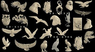 26 Pcs 3D STL Model # SINGLE BIRDS 6 # for CNC Aspire Artcam 3D Printer 3D MAX