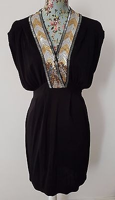 FRENCH CONNECTION FCUK black, gold & silver sequin Club Party Dress 8 36 NEW