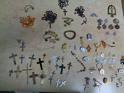 Large Religion Lot Rosary Beads Crosses Metals Necklaces Bracelets Charms Pins +