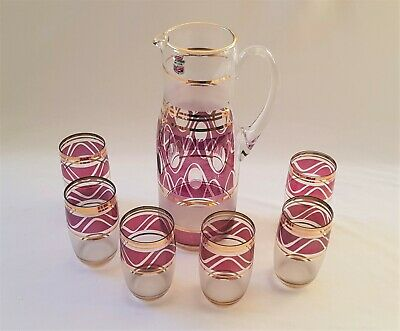 Lovely Vintage C1970'S Delicate Glass Water Set With 6 Matching Glasses - Gilt