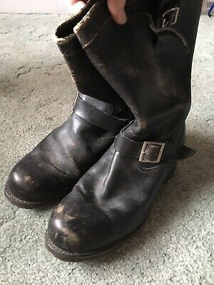 """Vintage Classic Leather Biker/Engineer Black Boots By Sears,USA.""""8-8.5steel Toe."""