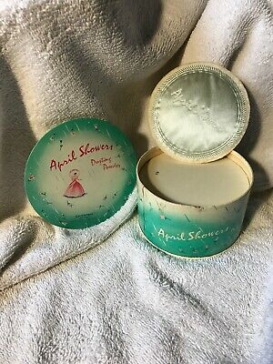 Vintage Tin,  April Showers Dusting Powder Cheramy New York , Puff Included! 💕