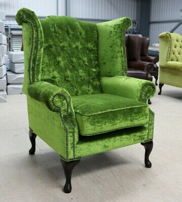 Georgian Chesterfield Queen Anne High Back Wing Chair Pistachio Green Velvet