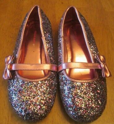 f0c7428cc Sanrio HELLO KITTY Pink Bow Glitter Mary Jane Ballet Flat Shoes 1 M Age 7  EXCEL