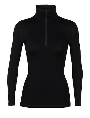 Icebreaker Tech Longsleeve Half Zip Damen Baselayer Shirt Funktionsshirt schwarz