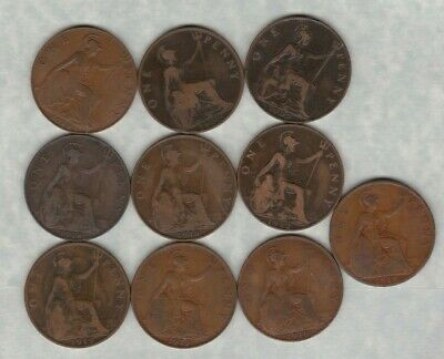 10 Pennies 1902 To 1919 Including Low Tide, H & Kn Mints In Used Condition